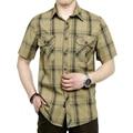 Vestido de verão de manga curta dos homens camisa xadrez estilo verde e cáqui cores plus size M-5XL CYG27