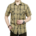 summer dress men's short sleeve shirt plaid style green and khaki colors plus size M-5XL CYG27
