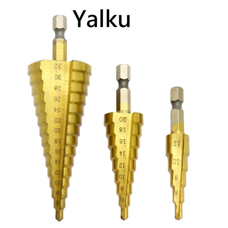 Yalku 4-12mm / 4-20mm / 4-32mm HSS 4241 Oțel conic cu pas mare, - Burghiu - Fotografie 6