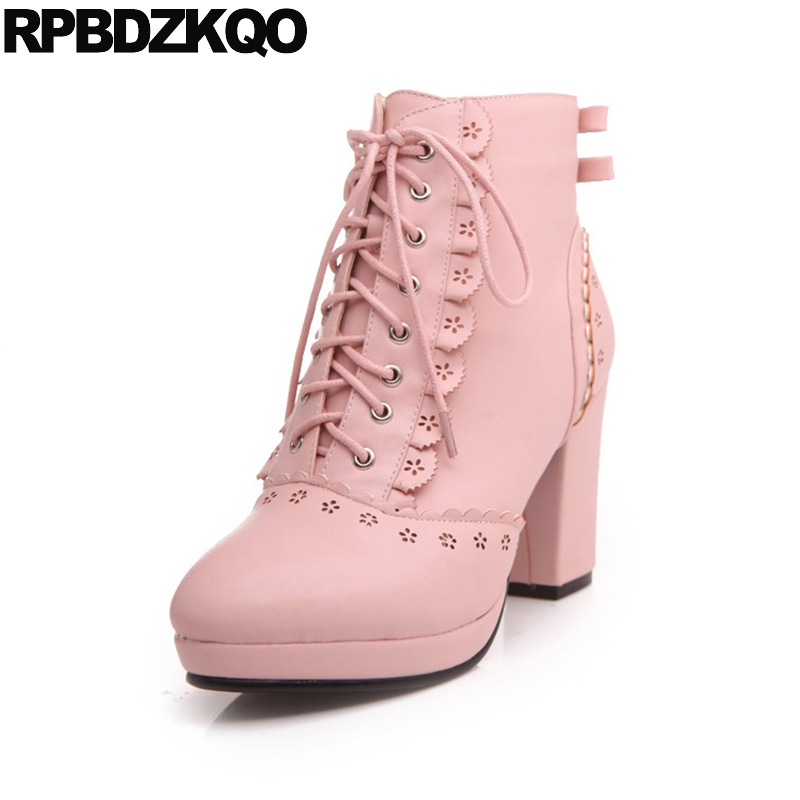 1dc7bc09048 Japanese 10 Boots Flower High Heel Round Toe Lolita Lace Up White Chunky  Big Size Shoes Booties Ankle Bow Pink Kawaii Cute Women