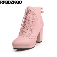 Japanese 10 Boots Flower High Heel Round Toe Lolita Lace Up White Chunky Big Size Shoes Booties Ankle Bow Pink Kawaii Cute Women