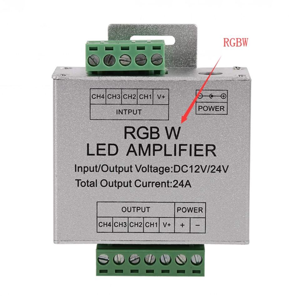 Image 3 - Amplificador RGB RGBW, DC12 24V 24 A, circuito de salida de 4 canales, carcasa de aluminio, controlador de tira led, repetidor de señal de datosControladores RGB   -