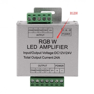 Image 3 - RGB RGBW Amplifier, DC12 24V 24A 4 Channel Output Circuit Aluminum Shell LED Strip Controller Data Signal Repeater