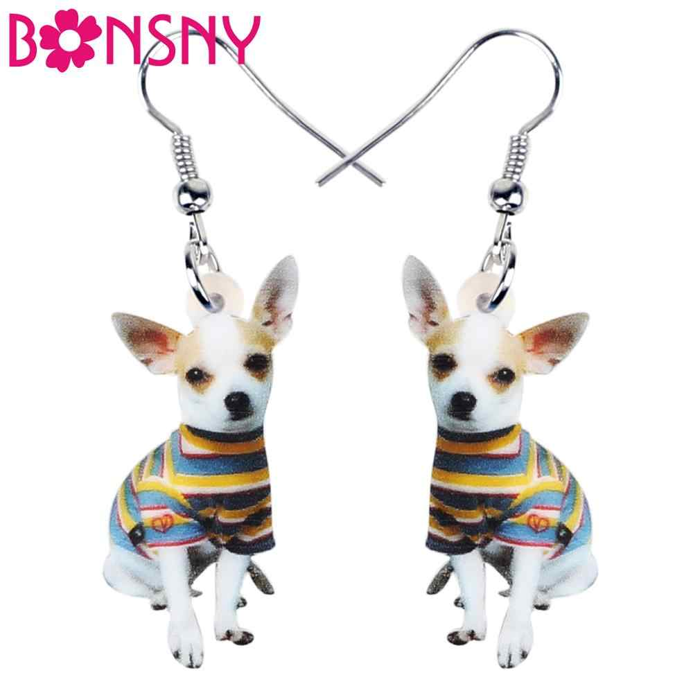 Bonsny Acrylic Cute Striped Coat Chihuahua Dog Earrings Dangle Drop Unique Jewelry For Women Girls Pet Lovers Charm Gift
