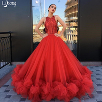 Amazing Red Sequin Tulle Puffy Romantic Evening Dresses Ball Gowns Custom Made See through Women Formal Maxi Gowns Vestidos Noiv