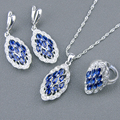 925 Sterling Silver Blue Created Sapphire White Topaz Jewelry Sets For Women Necklace Pendant Ring Earrings Free Jewelry Box