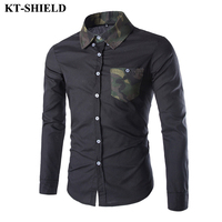 New Fashion Mens Brand Shirt Camouflage Pocket Collar Design Slim fit Long Sleeve Shirt Casual Men's Clothing Cotton Shirts