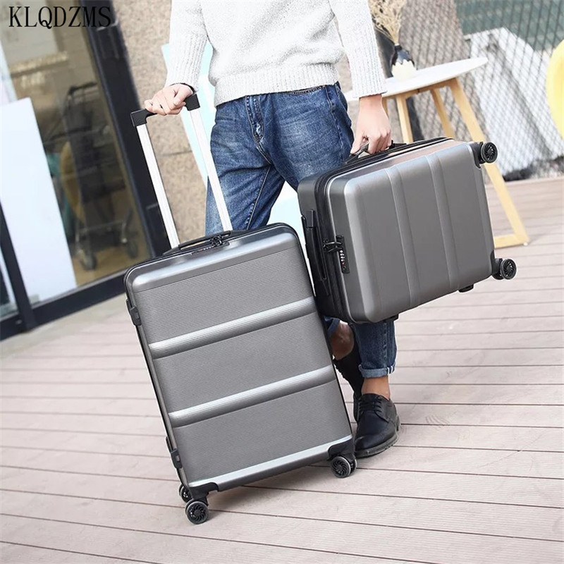 KLQDZMS ABS+PC high quality men trolley case wheeled fashion rolling luggage spiiner women travels suitcase