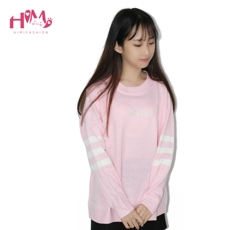 Baby Blue Baby Pink Knitted Sweater Winter Women Shirt Hot Korea Japanese Fashion