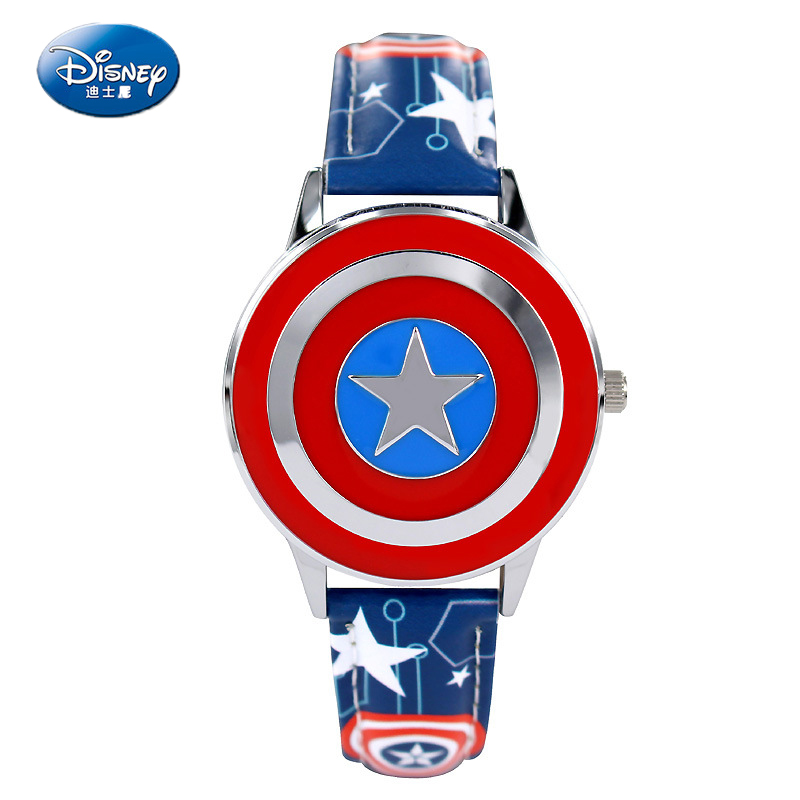 Disney Fashion Children Watch Captain America Boy Hero Flip Leather Boy Watches Cartoon Watch Children Kids Wristwatch Boys