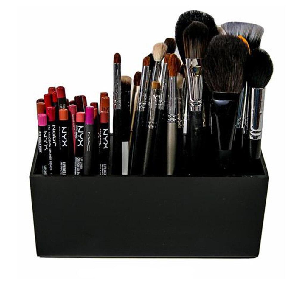 Escova E Liner Organizador Maquiagem Acrílico Caixa de Armazenamento de Ferramentas de Maquiagem Lápis de Sobrancelha Titular Slots 3 Batons Stand Case