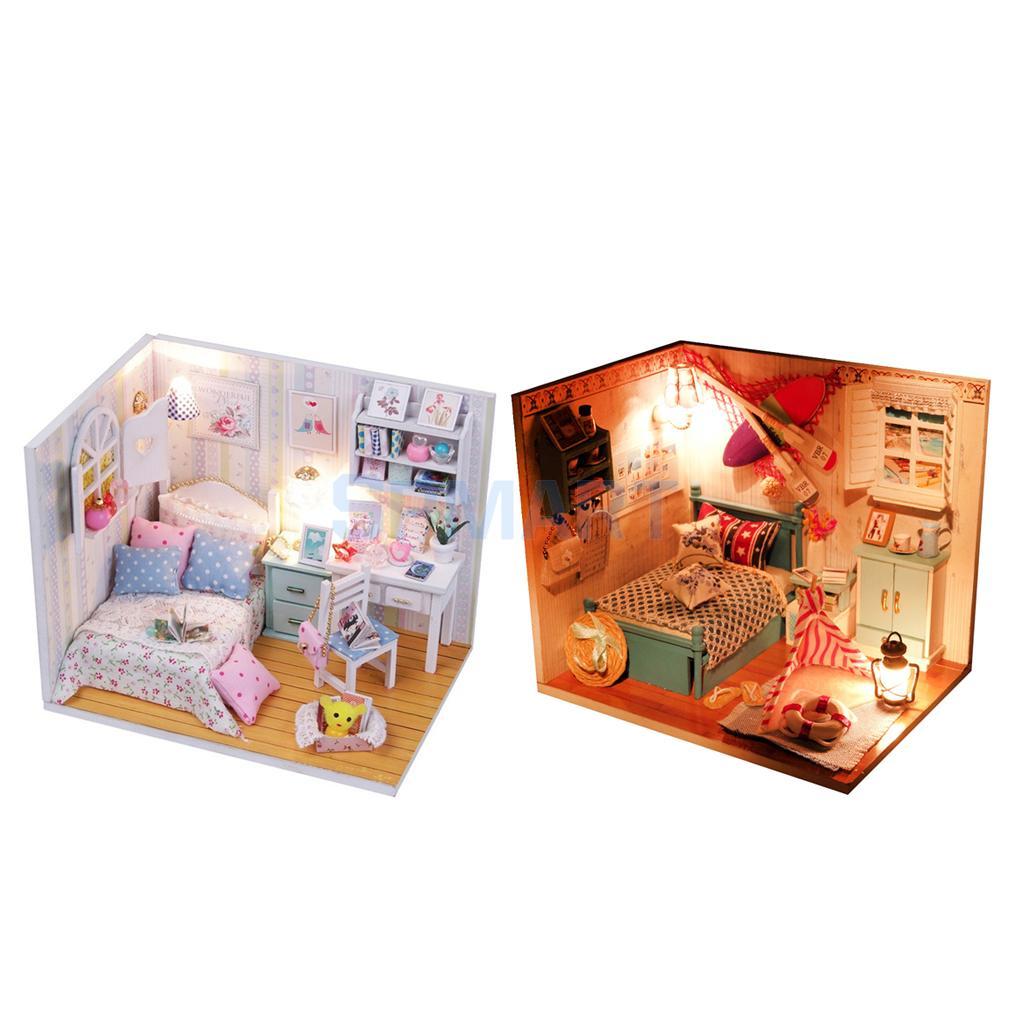 DIY 3D Wooden Handcraft Miniature Doll House Kit Bedroom with LED Lights & Furniture - Adalelles Room & Brandons Room