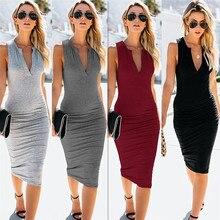 2019 New Summer Women Dress Black Casual Sexy Deep V Neck Sleeveless Elegant Draped Stretchy Midi-Length Bodycon Dresses Vestios