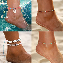 17KM Bohemian Sea Shell Beads Anklets For Women Vintage Gold Handmade New Stone Anklet Bracelet 2019 Ladies Beach Jewelry(China)