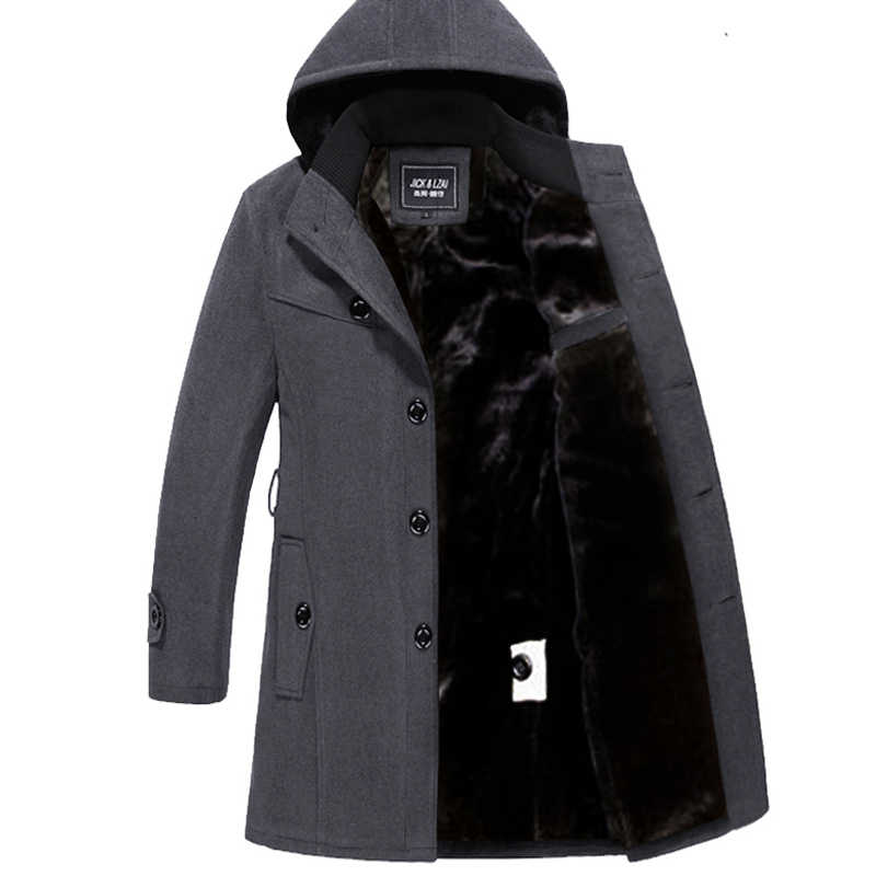 Winter Men Wool Coat Long Warm Trench Hood Big Size 4xl Men's Winter Jackets Thick Button Windbreaker Mens Clothing  ZZ106