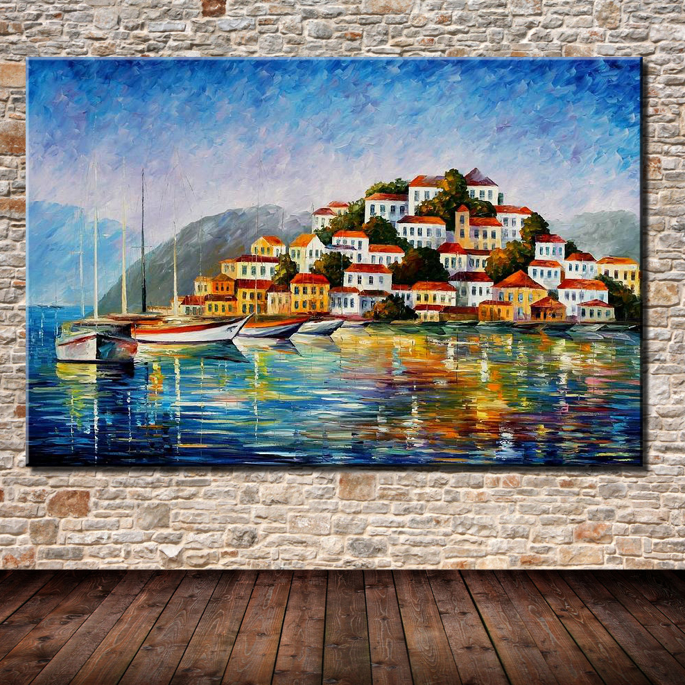 Hand Painted Living Room Hall Wall Art Picture Sea And City Landscape Palette Knife Oil Painting On Canvas Modern Home Decor In Calligraphy From