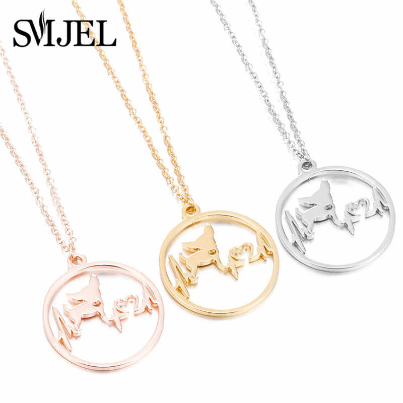 SMJEL Stainless Steel Chihuahua Heartbeat Dog Pendant Necklace New 2019 Cute Funny Animal Dog Necklace Jewelry Drop Shipping