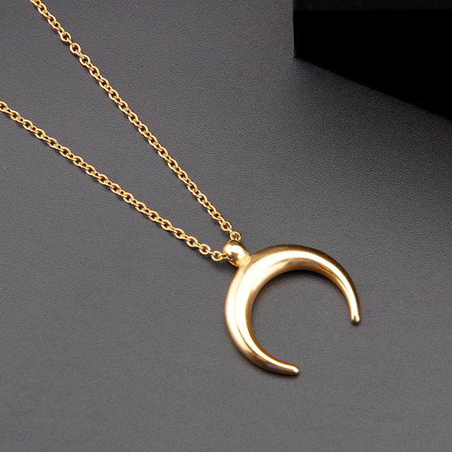 Stainless Steel OX Horn Pendant Crescent Half Moon Necklace Gifts For Women/girlfriend Femme Collare Mujer Bijoux Collar Luna