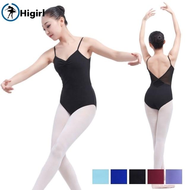 Sexy Women Cami Ballet Women Leotard With Mesh Adult Training Dancewear Ballet Dance Costume Leotards For