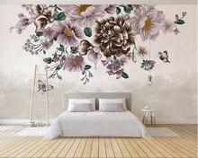 Купить с кэшбэком Beibehang Custom 3d wallpaper Modern HD Hand Drawn Small Fresh Rose Butterfly TV Background Wall wall paper home decor behang