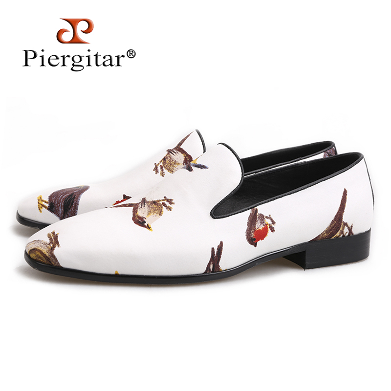 Piergitar 2018 handmade men loafers with bird printing Fashion party and wedding men slip-on shoes big size male's flats piergitar fashion men suede shoes handmade men loafers for party and wedding prom breathable leather insole slip on men s flats