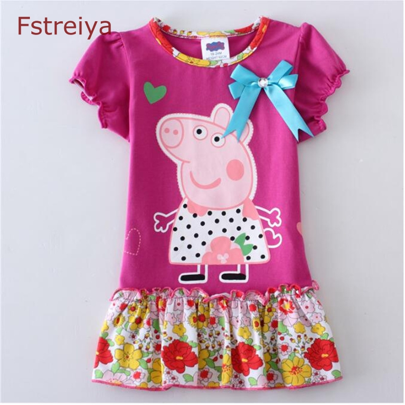 Baby girls Mini summer floral dress princess 2018 kids peppa pig casual dresses toddler girl Cartoon clothes children costume kseniya kids toddler girl dresses 2017 brand new princess dress summer little girl dress sleeveless floral girls costume 2 10y