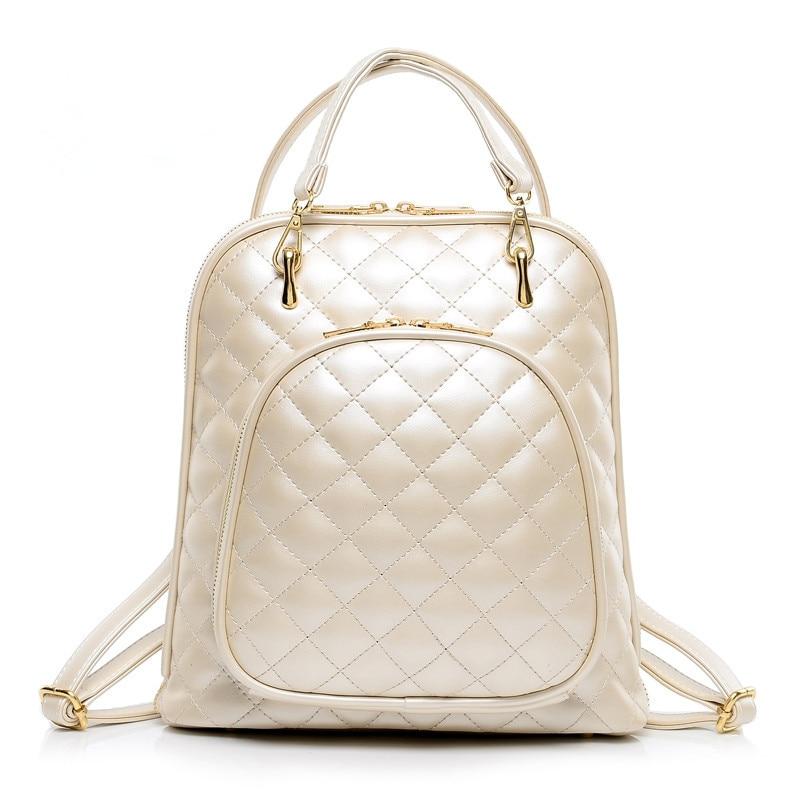 Bokinslon haute qualité femmes sac à dos Pu cuir mode sacs à dos pour adolescentes pastille treillis décontracté voyage sac d'école - 3