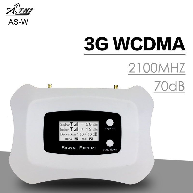Smart LCD Display 3G 2100 Cell Phone Signal Repeater 3G WCMDA 2100 Mhz Mobile Cellular Signal Booster Amplifier Antenna 70dB