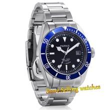 Парнис 41 мм черный циферблат сапфировое стекло 24 ювелирные изделия MIYOTA Автоматические мужские часы