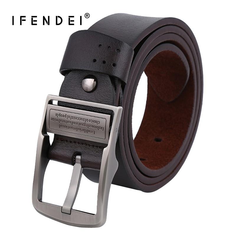 IFENDEI Designer Belts Men High Quality Genuine Leather Belt For Men Soft Leather Vintage Strap Metal Buckle Black Belt Waist