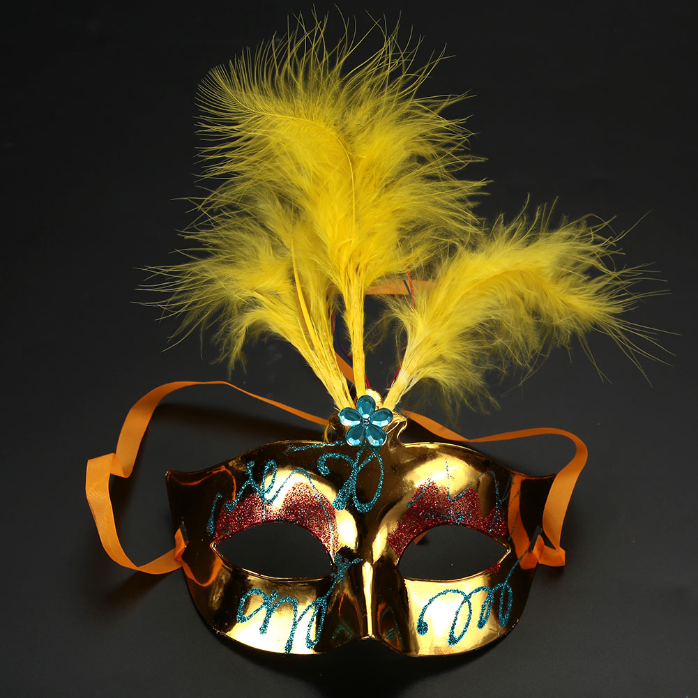 Halloween Airsoft Mask LED Feather Mask Female Ladies Masquerade ...