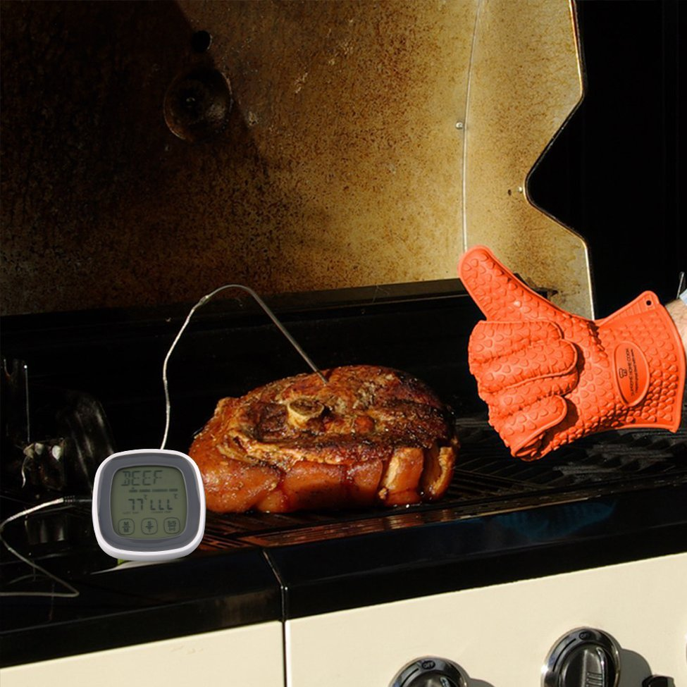 Potable Écran Tactile Numérique Viande Cuisson Des Aliments Thermomètre Minuterie Avec Sonde dans Température Jauges de Maison & Jardin