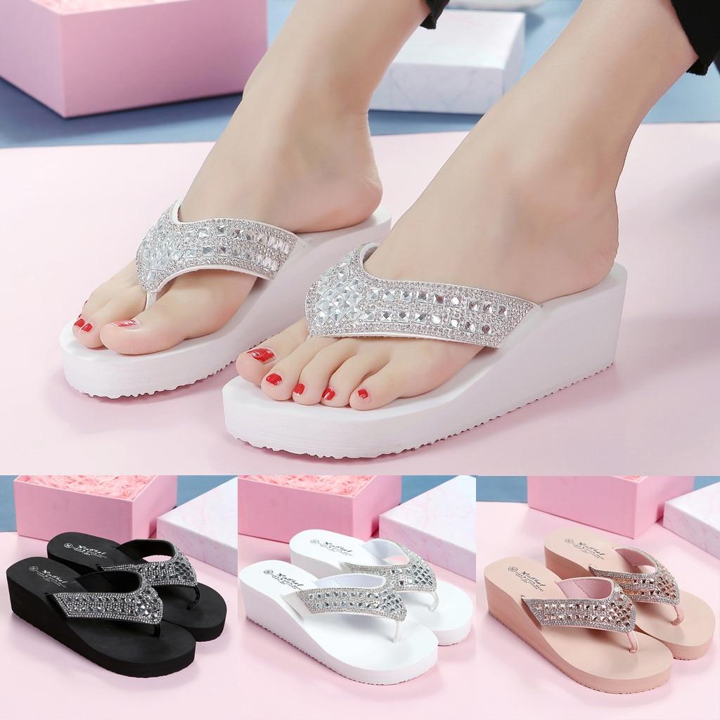 Rhinestone Slippers Sandals Wedged Platform Flip-Flops Beach-Shoes Crystal Designer Summer