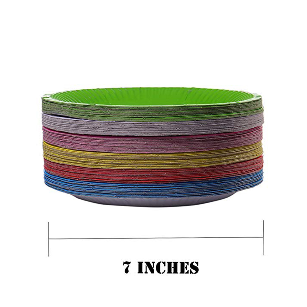 Купить с кэшбэком Disposable 7inch Colour Paper Plates Party Tableware Baby Shower Fruit Cake Tray Birthday Party Decoration Wedding Supplier
