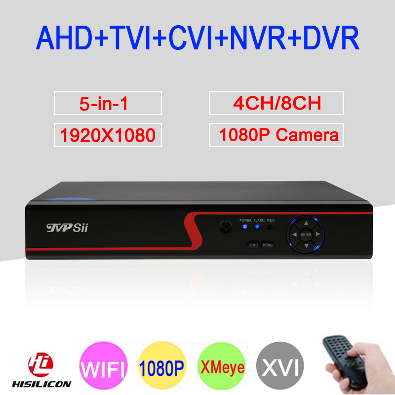 Red Panel XMeye 4CH/8CH 1080P Full HD Surveillance Video Recorder WIFI 5 in 1 Hybrid NVR TVI CVI AHD CCTV DVR Free Shipping voxlink ahd tvi cvi video converter full hd 1080p tvi cvi ahd signal to cvbs vga hdmi hd video converter for cctv cameras
