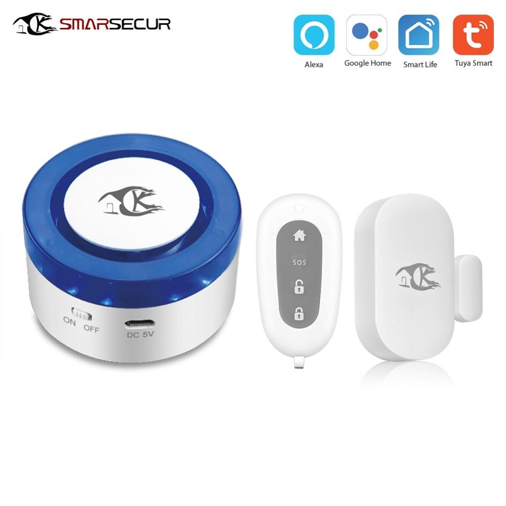 Smart Wireless Wifi Alarm Siren Kits Smart Life APP Control works with IP camera