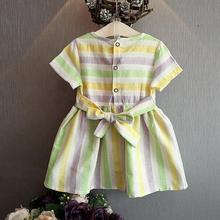 Baby Girls Clothes Summer Color Striped Korean Swan Dresses
