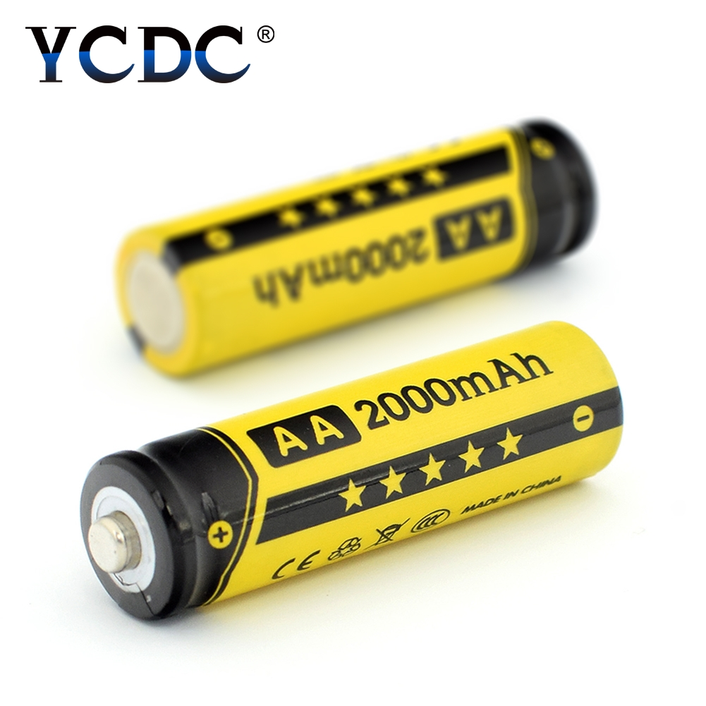 YCDC 4-20Pcs/Box NI-MH AA Rechargeable Batteries 1.2V 2000mAh Power Bank NIMH Battery With Charger Flashlight Battery Case ycdc 4pcs aa rechargeable battery 2000 mah for charger 1 2v ni mh flashlight rechargeable batteries with batery box