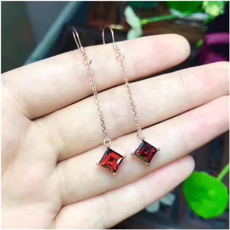 Natural garnet earring Free shipping Natural real red garnet 925 sterling silver 6*6mm star style garnet stud earring free shipping natural garnet 925 sterling silver fine gems jewerly