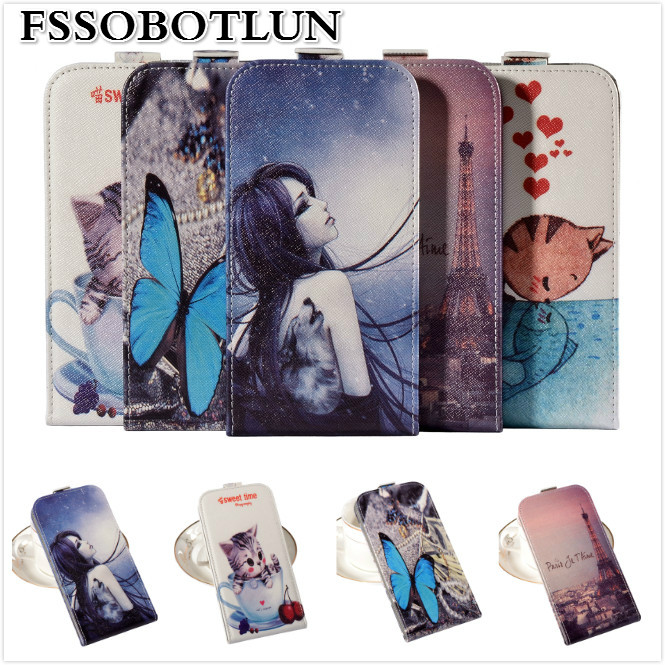 Top quality Cartoon Painting Vertical flip PU leather mobile phone bag cover case For Fly IQ4505 ERA Life 7 Quad ,gift