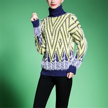 polo neck Women's sweaters and pullovers turtleneck thick winter warm clothes geometric patchwork multi-color striped wear 7514