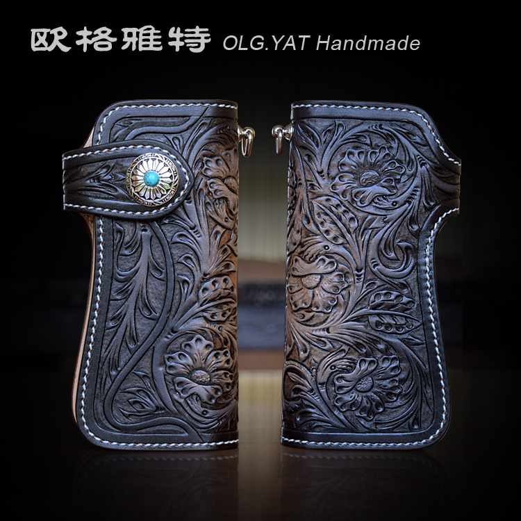 OLG.YAT leather handmade wallet womens purse Italian Vegetable tanned Cowhide manual Arabesque long handbag Hasp women wallets olg yat leather handmade wallet men purse womens handbag italian vegetable tanned cowhide wallets the book button long handbags