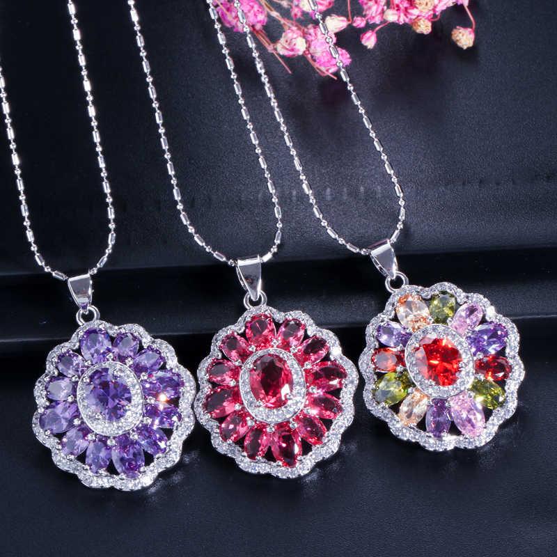 Cwwzircons cúbicos zircônia indiana prata 925 conjuntos de jóias para mulheres multicolorido grande cz anel colar e brinco senhoras t261