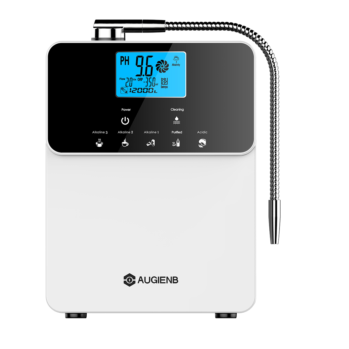 Purificador de agua Augienb PH3.5-11 L purificador de agua Ajuste de ácido alcalino 5 ajustes de modo de limpieza automática LCD filtro de agua táctil