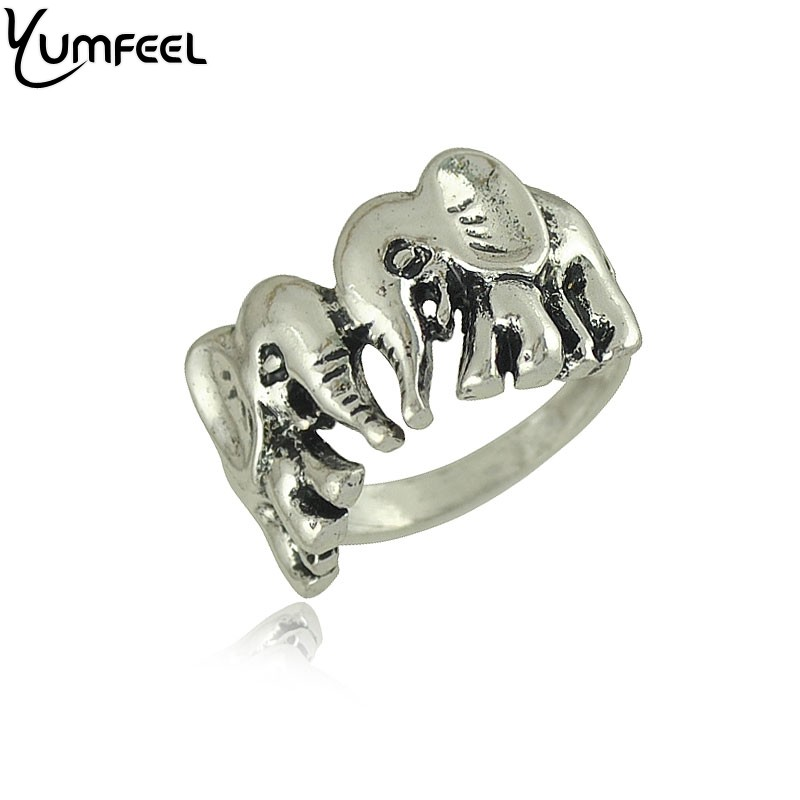 Vintage Animal Jewelry Metal with Antique Silver Plated Rings Boho Animal Jewelry Double Elephant Rings
