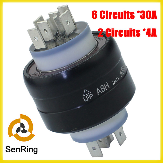 8 Poles mercury slip ring 6 circuits 30A+2 circuits 4A of A8H