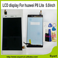5.0inch P8 lite LCD Display+Touch Screen Digitizer Glass Panel lcd Replacement black white color For Huawei Ascend P8 lite