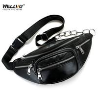 Men S Multifunctional PU Leather Waist Packs Women Portable Chest Bags Mini Shoulder Bag Phone Money