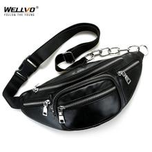 Men's Multifunctional PU Leather Waist Packs Women Portable Chest Bags Mini Shoulder Bag Phone Money Purse Chain Strap XA128WC
