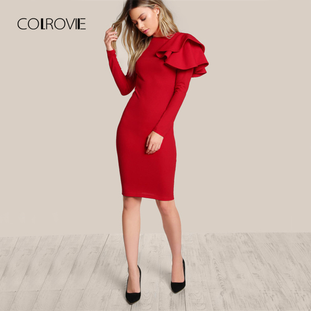 1825b1d7aff COLROVIE Red OL Elegant Bodycon Dress Women One Side Tiered Ruffle Cute  Long Sleeve Dress Autumn New O Neck Sexy Midi Dress